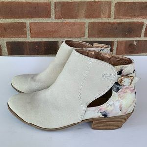 Very Versatile white suede booties